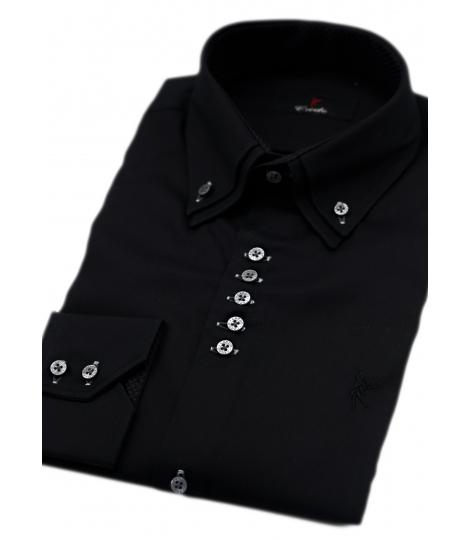 Doble cuello Negro elegante