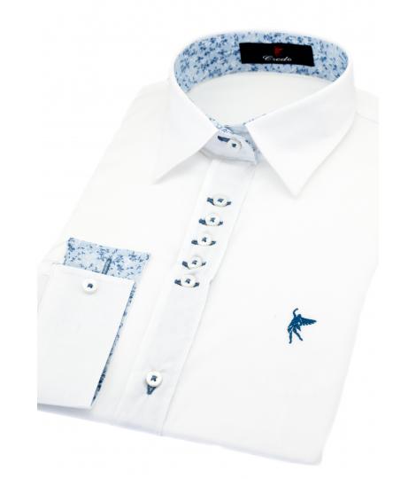 Blanca cuello Elegante