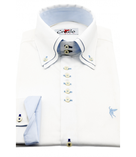 Doble cuello Blanco elegante celeste