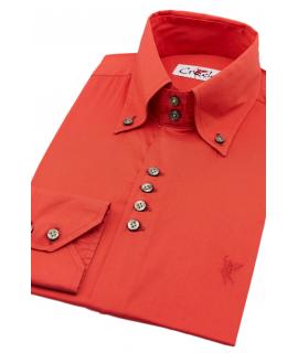 Cuello con botón roja