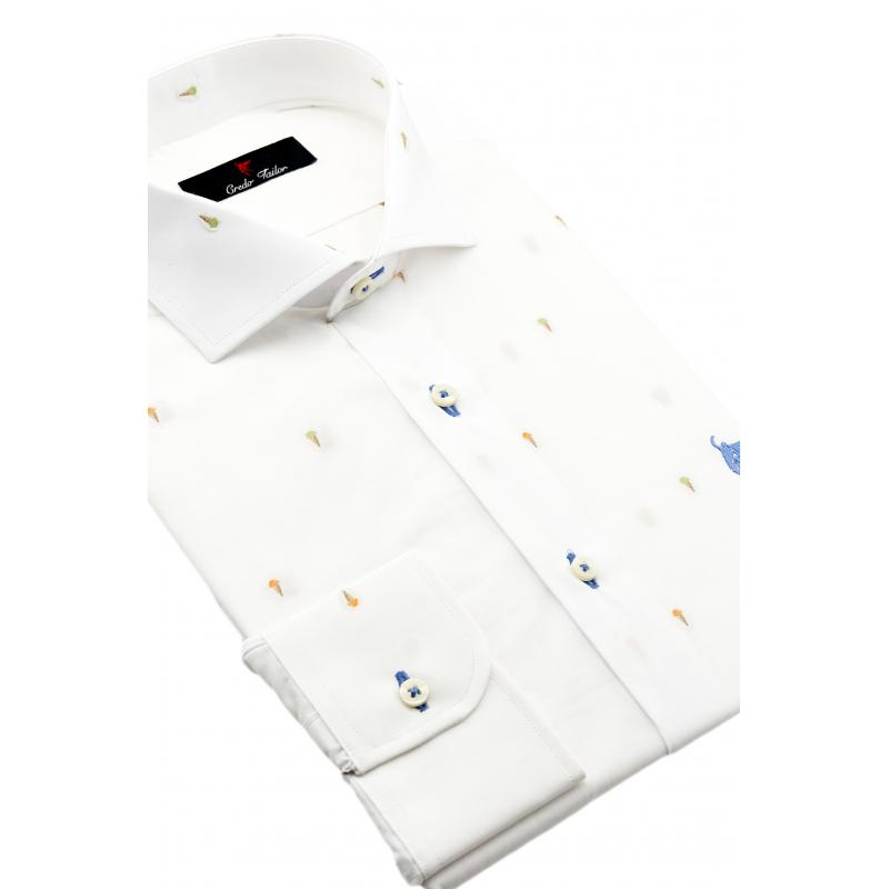 Hombre Color Blanca A Camisa Personalizada Exclusiva Credo Medida Y l1JcT3FK