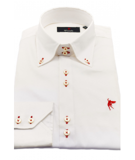 Un cuello Blanca ojales en Rojo